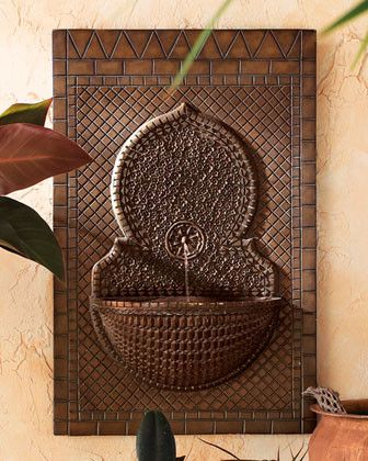 Mosaic Tile Wall Fountain traditional outdoor fountains