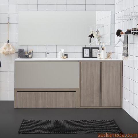 Acqua e Sapone E - Meuble de salle de bains à finition Orme corde avec caisson laqué en chanvre mat combiné au miroir modèle Filo Lucido et à l'élément haut séchoir à ligne modèle Sapone S