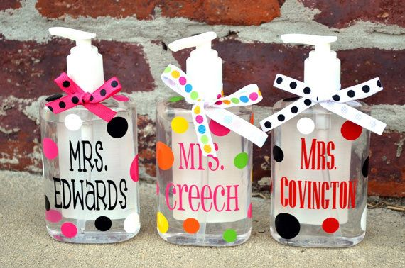 PERSONALIZED Desk Hand Sanitizer Pump - Perfect TEACHER GIFT - Could be used for other things too?