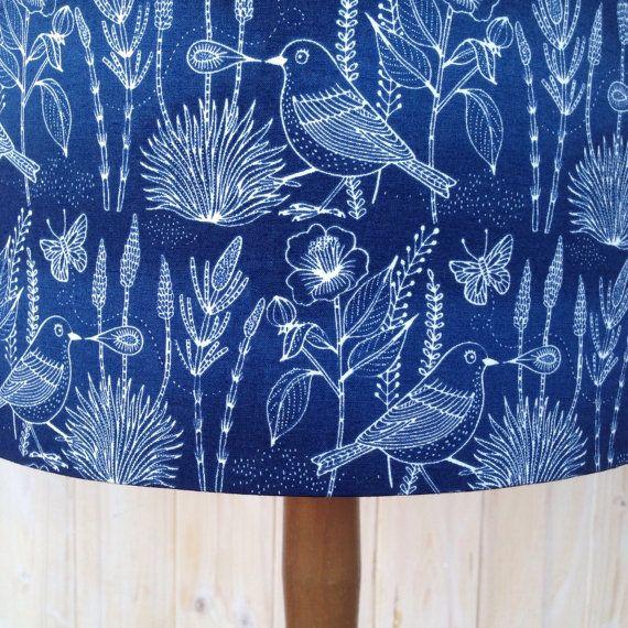 Sashiko Bird Navy Fabric covered lamp shade