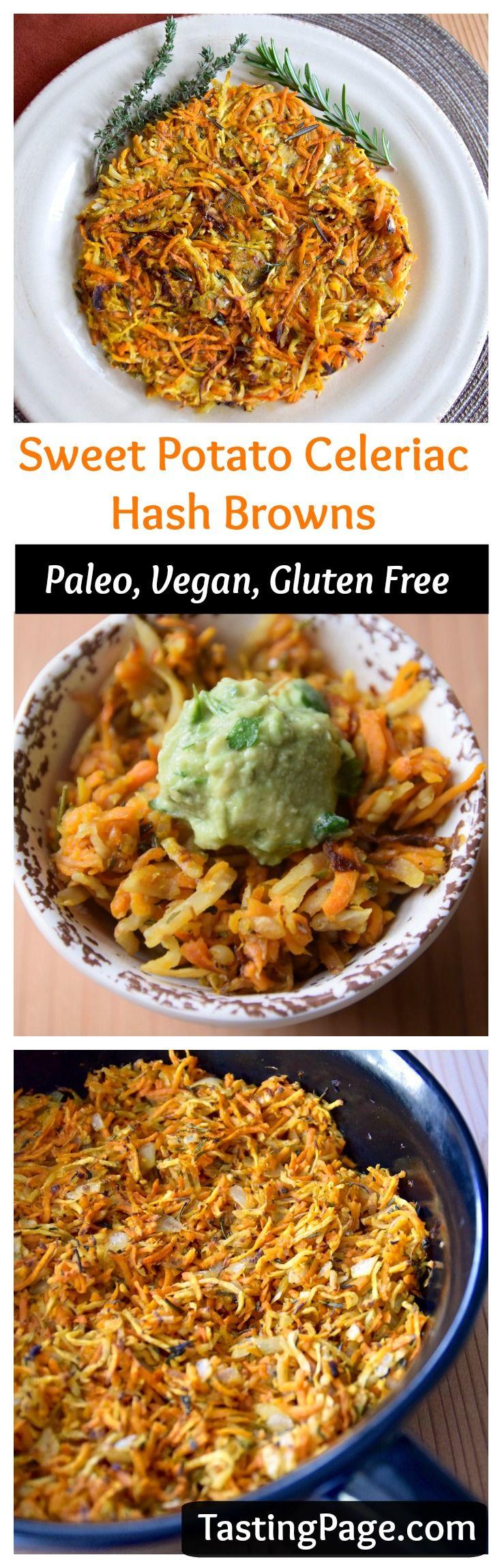 Sweet Potato Celeriac Hash Browns - a great gluten free, vegan and paleo power breakfast to start your day | TastingPage.com