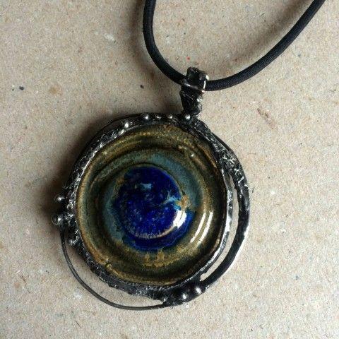 Náhrdelník keramika cín Kelt šperk náhrdelník přívěsek zelená modrá keramika přírodní spirála patina starobylé keltský kelt keltové magické keramický šperk