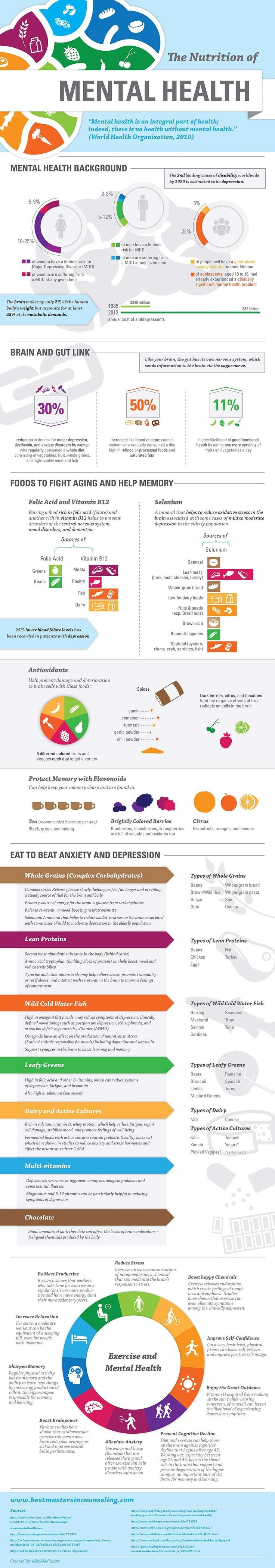 "the nutrition of mental health infographic | according to the world health organization, ""mental health is an integral part of health; indeed, there is no health without mental health."""