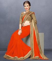 Dark Orange Color Georgette Casual Functions Sarees : Tejasvi Collection  YF-40993