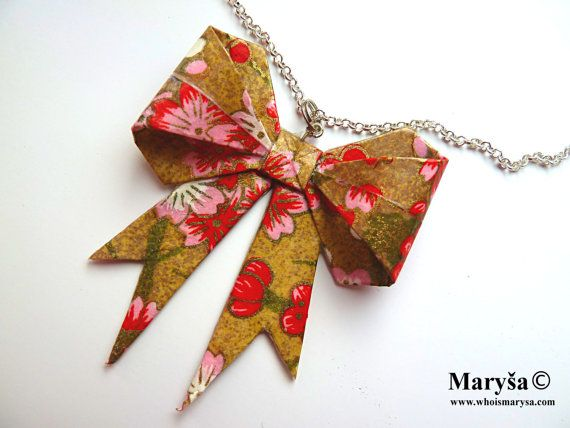 Origami Ribbon Necklace Golden with red flowers by MarysaArt