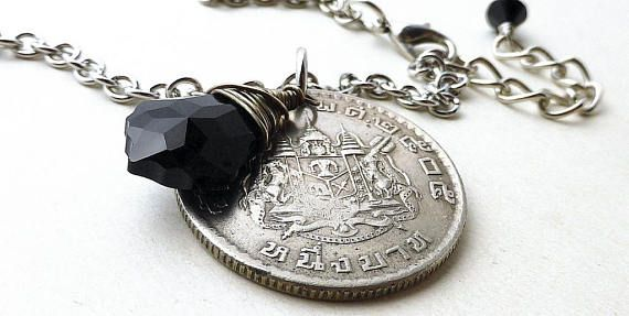 Thailand Coin necklace Coin jewelry Swarovski necklace
