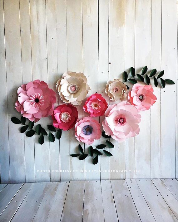 Light Pink Paper Flowers Decor Girl Kids Room Art Pink First