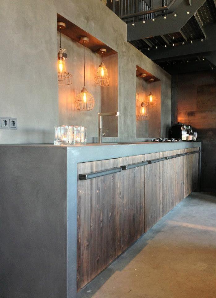 Stoere keuken met betonlook.
