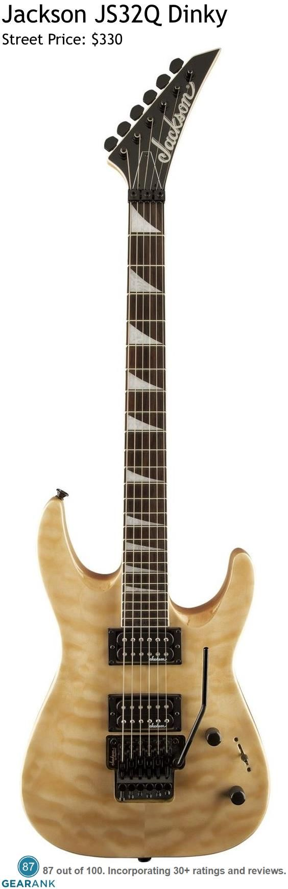 Jackson JS32Q Dinky. This budget friendly Jackson comes with a Poplar body and quilt Maple Top with a Natural Blonde finish.  It sports a Double-locking Floyd Rose Licensed Tremolo along with 2 Jackson High Output Humbucker pickups.  For a Detailed Guide to Electric Guitars Under $500 see https://www.gearank.com/guides/solidbody-electric-guitars-under-500