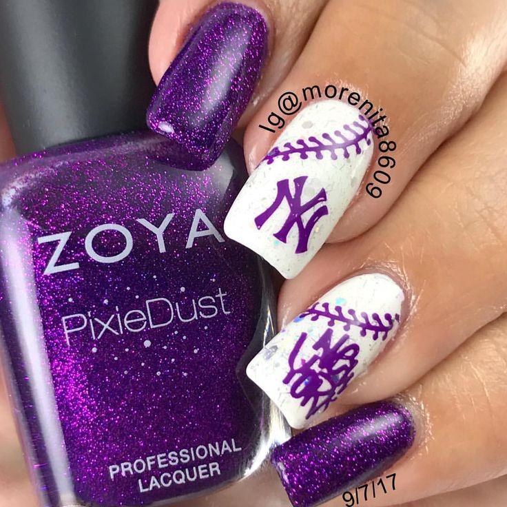 NY Yankees Baseball Nails    #nails #sexynails #nailstamping #nailart #nyyankeesnails #baseballnails