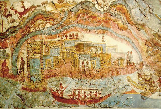 Ship fresco from Akratiri, Thera, c. 1650 - 1500 B.C. national Archaeological Museum, Athens