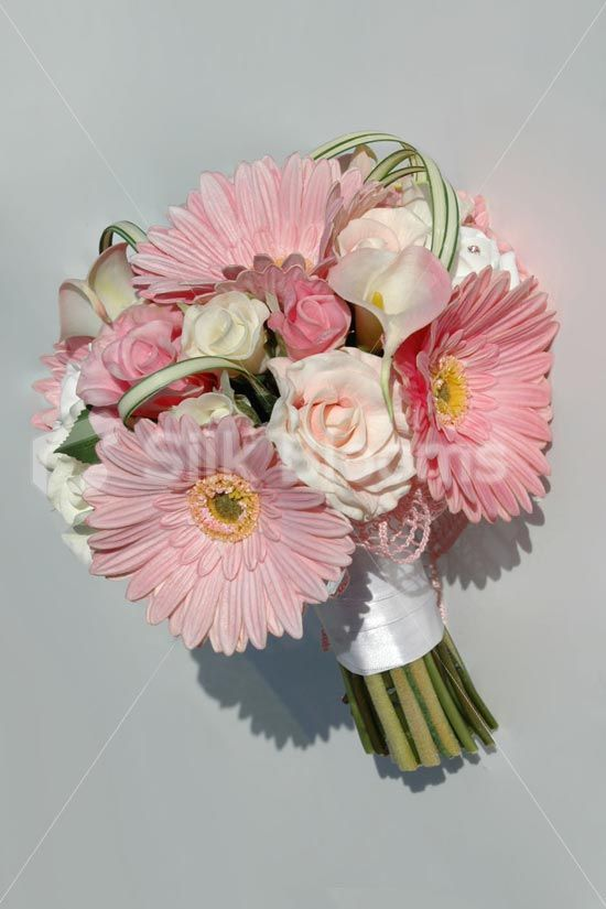 Stunning Real Touch Pink White Gerbera And Rose Bridal Bouquet