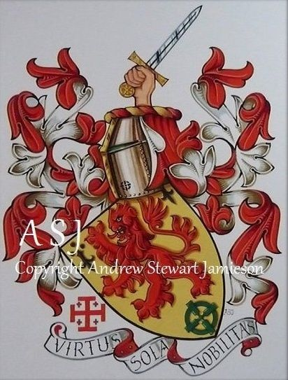 The Armorial Bearings of Mike Dwyer this is original hand drawn and painted artwork created by British Artist and Designer Andrew Stewart Jamieson and is fully copyrighted. No portion of this can be used to create another piece of artwork. Do not copy, trace or digitally manipulate. (heraldry, heraldic art, heraldic artists, coats of arms, fine art, The Jamieson Family)