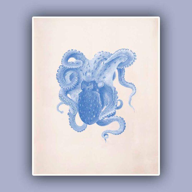 Octopus Print 4,  Vintage octopus image print,  Marine Wall Decor, Nautical art,  Mixed Media Collage  Print, Coastal Living. $13.50, via Etsy.