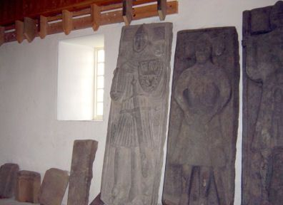 Tombstones of the early Scottish Kings at Iona Abbey. Graveslabs of MacLeods,MacKinnons & MacCleans brought inside for preservation to Iona Abbey