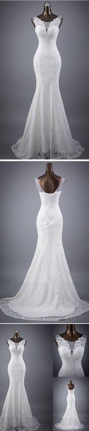 Elegant Sleeveless Mermaid Lace Up Popular White Lace Wedding Dresses, WD0142