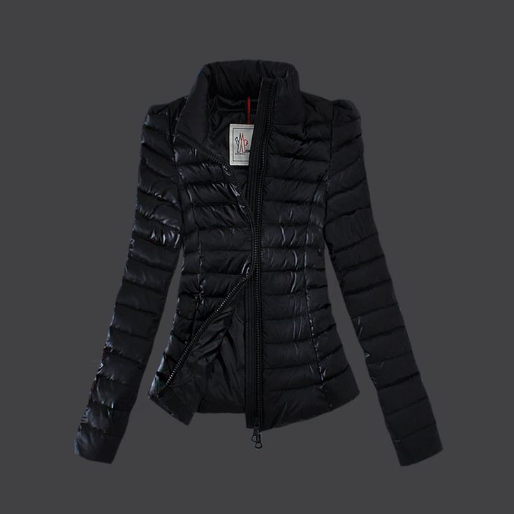 2013 New! France Moncler Jackets Womens Zip Slim Stand Collar Black Outlet