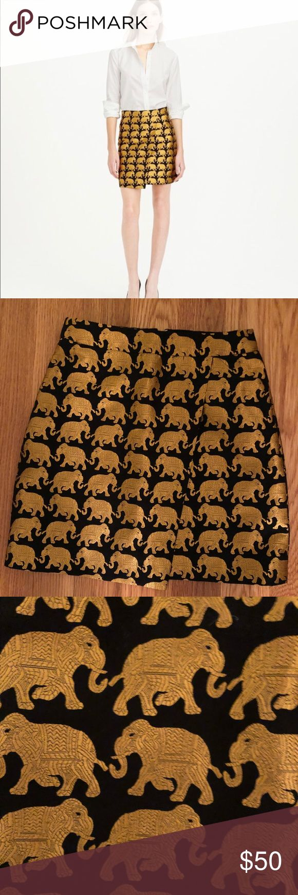 J Crew Elephant Origami Skirt J.Crew Origami Skirt In Elephant Parade (not factory version). Size 00. Faux wrap style. Sought after J. Crew Skirts Mini