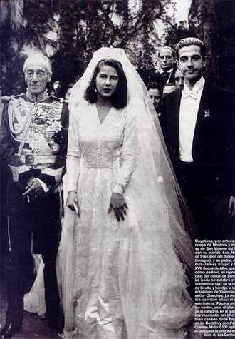 The Duchess of Alba at her first wedding.