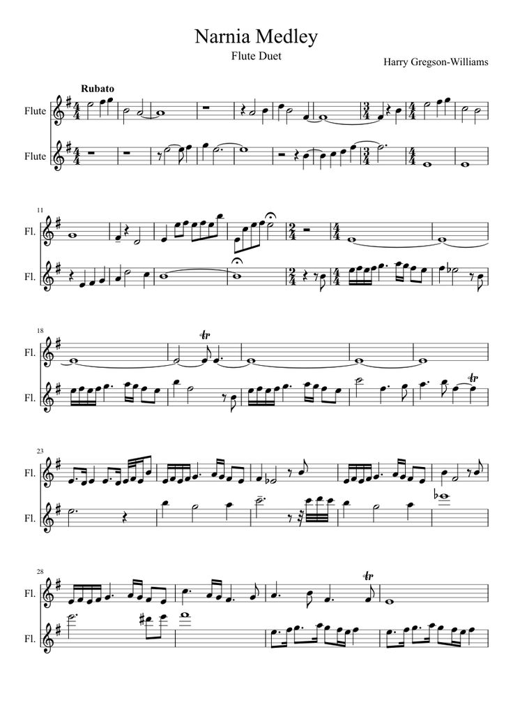 Sheet music made by georgia. for 2 parts: Flute