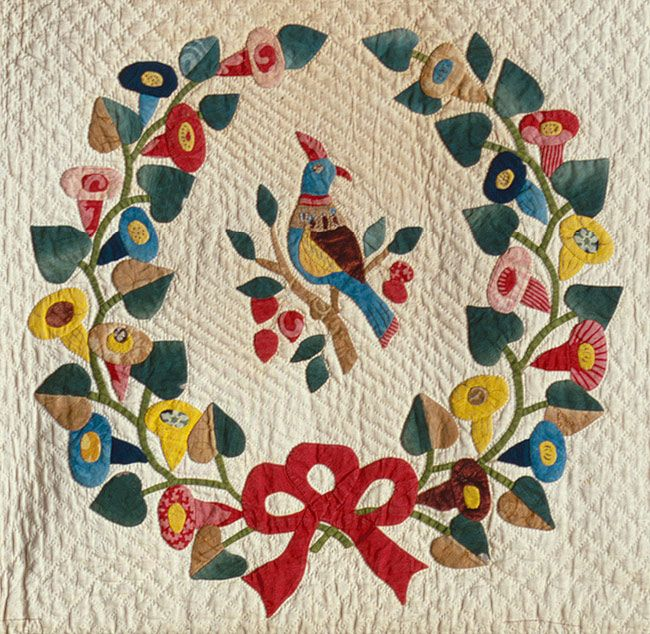 Presentation quilt, ca. 1849, detail, most likely by Mary Simon.  Metropolitan Museum of Art.