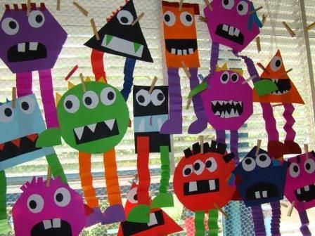 Shape monsters craft for Halloween---can incorporate shapes, vertices and adjectives all in one. Have the kids create their shape monster then describe it using math vocabulary and afjectives