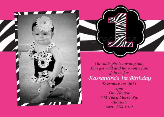 Pink and Black Zebra Print Birthday Invitation Zebra Print Birthday Photo Invitations Printable or Printed