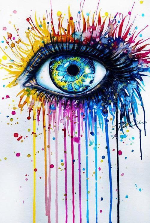 Rainbow Eye Painting
