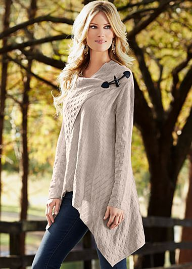 Oatmeal (OA) Basket Weave Sweater $44  Patterns of comfort are naturally sexy for your cool weather style statements.· Sizes: XS (2), S (4-6), M (8-10), L (12-14), XL (16)  · Overlapping front with toggle closure  · Acrylic. Imported