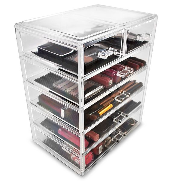The Art Gallery Sorbus Acrylic Cosmetics Makeup and Jewelry Storage Case Display Large and Small Drawers Space Saving Stylish Acrylic Bathroom Case