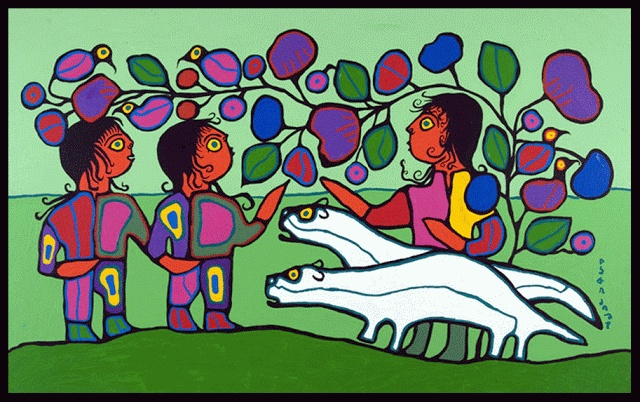 Sacred Otters with Children (1990) Norval Morrisseau