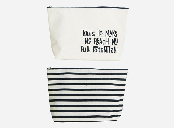 House Doctor - LS0360 Toilet bag, asstd. 2 prints, 32x8 cm, h.: 20 cm, 37.5% cotton/40.4% polyester/22.1% rayon