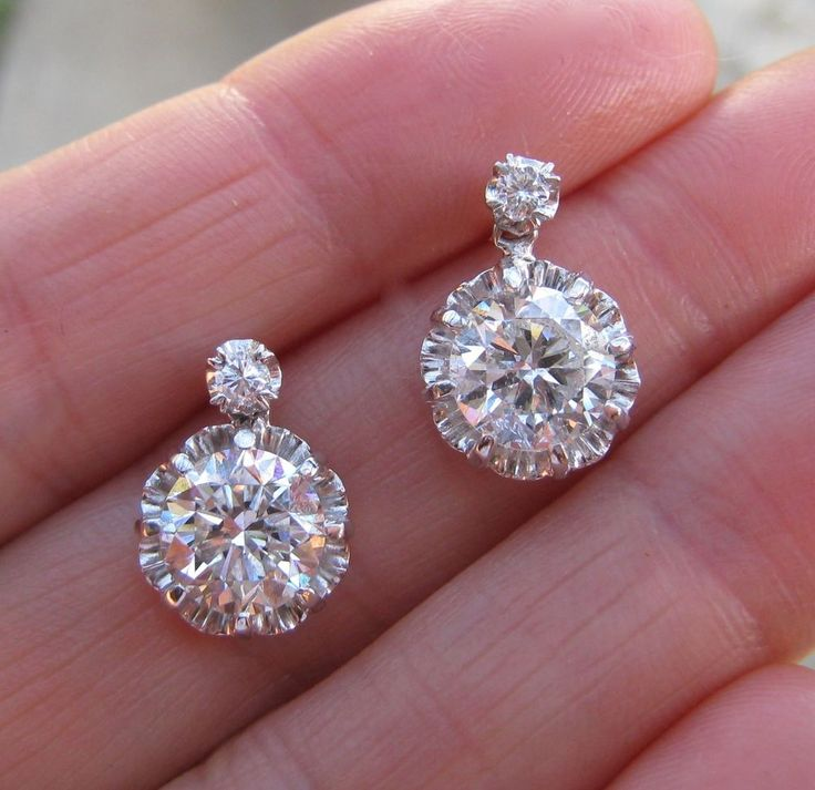 http://rubies.work/0532-sapphire-ring/ INCREDIBLE! Antique PLATINUM Huge DIAMOND Solitare EARRINGS EGL Certificate #DropDangle