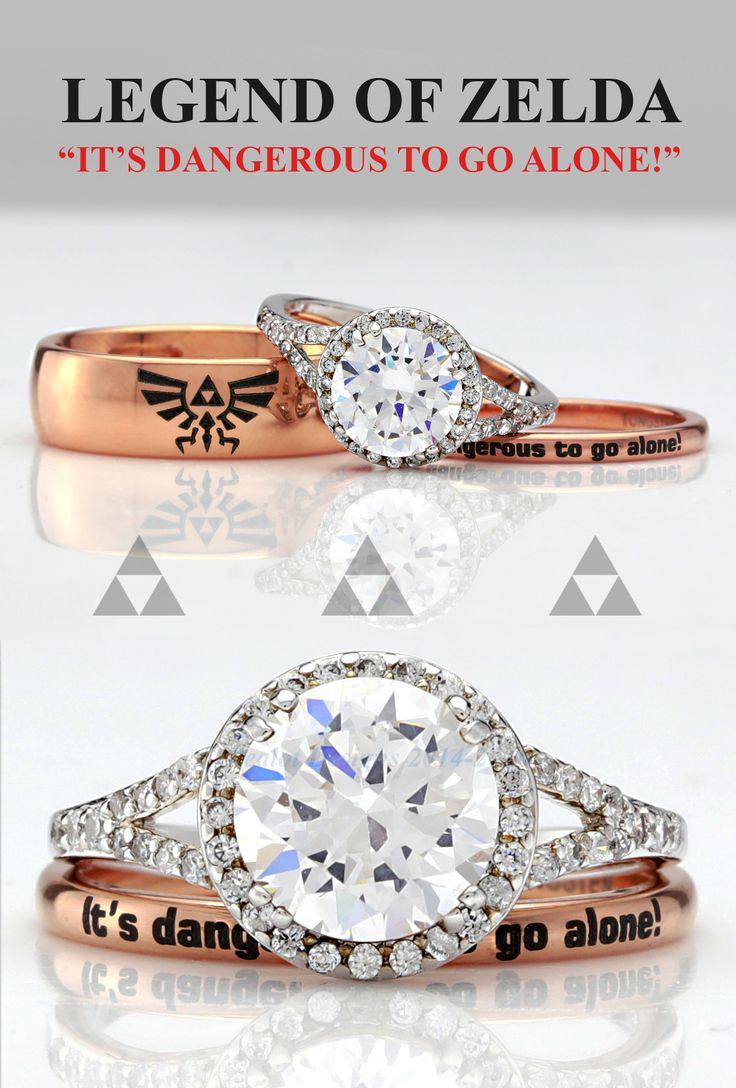 It's dangerous to go alone.  So take this Legend of Zelda inspired engagement ring set.