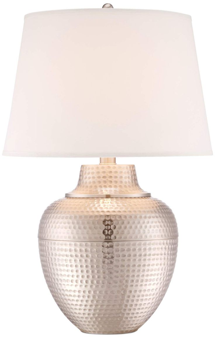 Brighton Hammered Pot Brushed Nickel Table Lamp - #X4787 | Lamps Plus