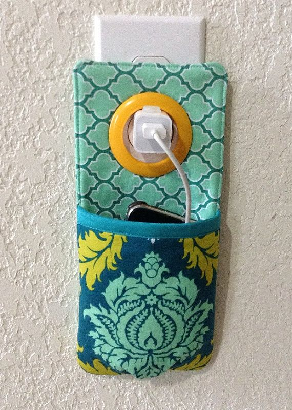 iPhone , iPod Touch, smart phone Docking Station / wall Socket Holder / cell phone charger holder **Joel Dewberry Aviary 2 ** on Etsy, $15.00