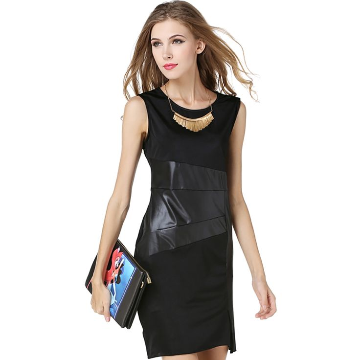 Find More Dresses Information about Summer Dresses Plus Size Women Clothing Patchwork Work Dress Office Bodycon Female Knee Length Black Skater Dress Sleeveless,High Quality Dresses from Shop2802153 Store on Aliexpress.com