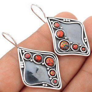 Fire-Opal-925-Sterling-Silver-Earrings-Jewelry-SE100185