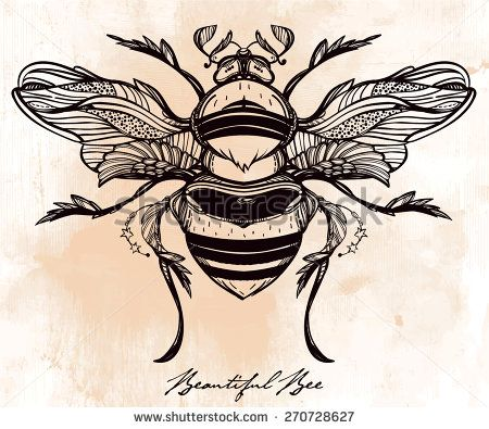 Beautiful Hand Drawn Honey Bee Beetle. Vintage Style Tattoo Vector Art. Engraving Romantic Victorian Collection Illustration Isolated, Grunge Paper Background. Print Fabric Design. Linear Decoration. - 270728627 : Shutterstock