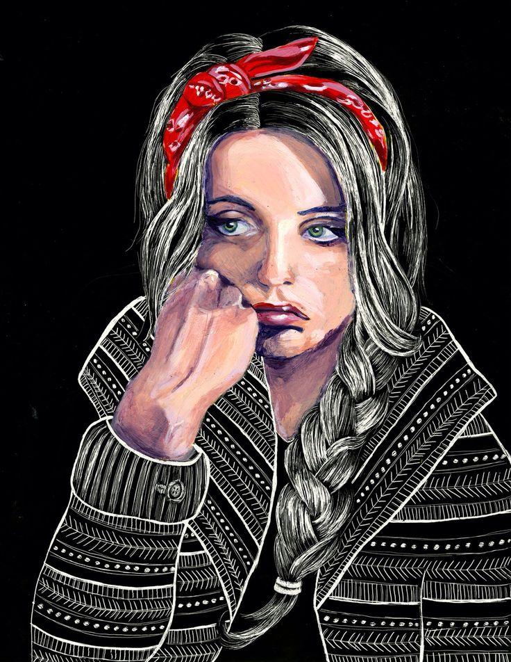 Self portrait - #acrylic on #scratchboard #art #illustration