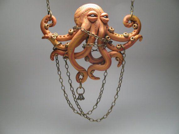 Escultura de pulpo pulpo naranja collar - joyas de arcilla de polímero-