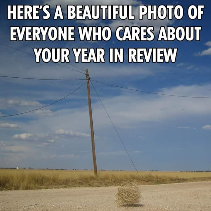 """""""Heres a beautiful photo of everyone who cares about your year in review"""" #facebook #fb #yearinreview #yearinreview2016"""