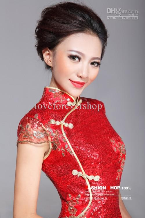 High Collar Cap Sleeve Side Split Evening Dress Sequin 2013 Sexy Red Gold Chinese Dresses Cheongsam