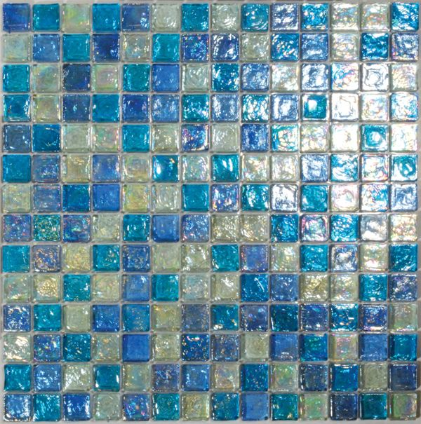 iridescent glass mosaic tile pale blue blend 1x1 - Mosaic Tiles