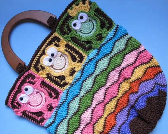CROCHET PATTERN - Toadally Froggin' Tote - a CoLorFuL & HoPpY frog tote - Instant PDF Download