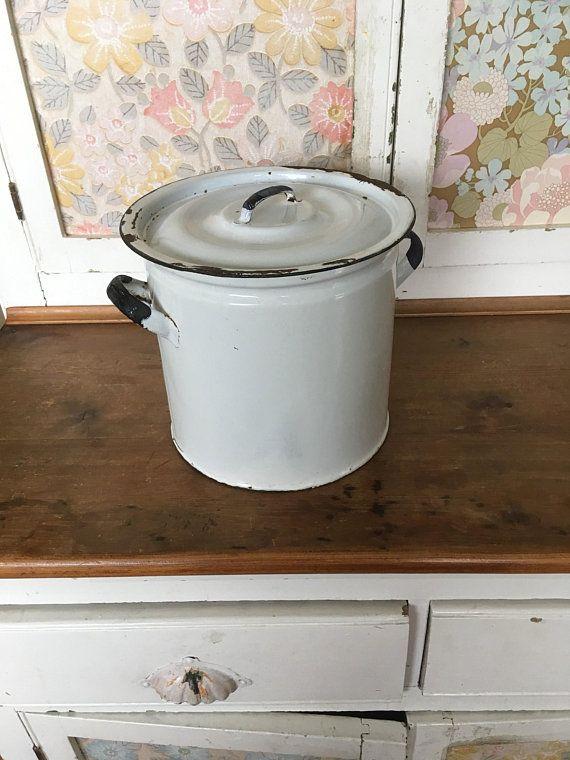Old Vintage White Enamel Flour Bin Flour Container Kitchen Storage