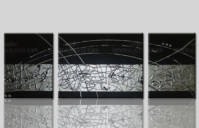 Cuadro moderno plata y negro pintura en relieve de - Cuadros abstractos relieve ...