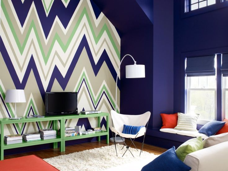 WHOAH.Ideas, Interiors Design, Media Room, Painting Colors, Chevron Wall, Blue Living Room, Benjamin Moore, Wall Design, Accent Wall