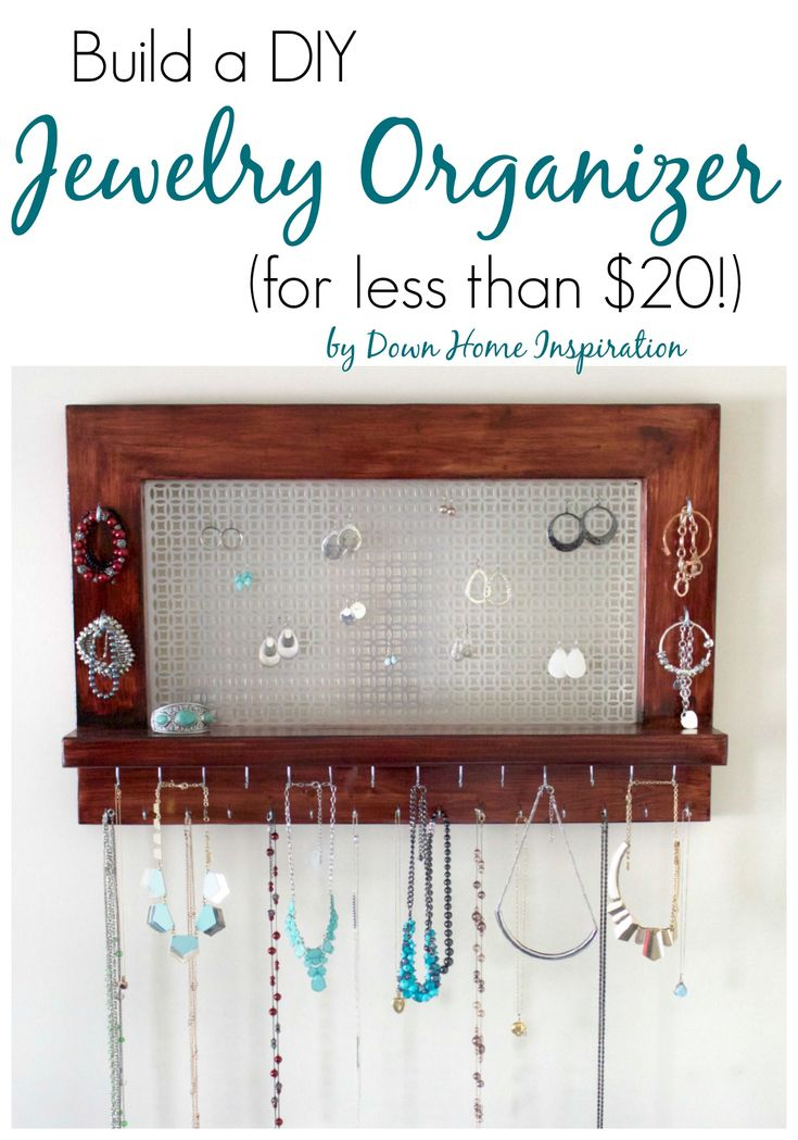 Perfect for tons of jewelry!  Build a Beautiful DIY Jewelry Organizer (for less than $20!) - Down Home Inspiration