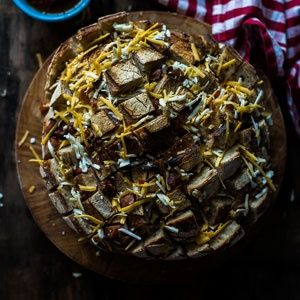 Cheesy bacon and chorizo pull apart loaf